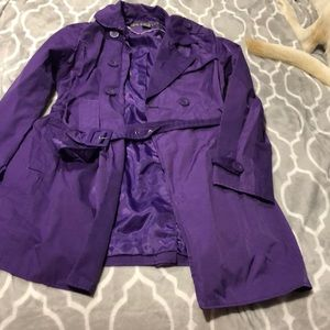 Long purple rain jacket